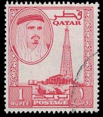 QATAR Stamp - Red 1 Rupee A13P