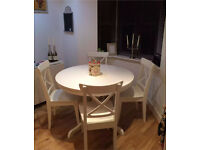 Ingatorp extendable table and 4 Ingolf chairs