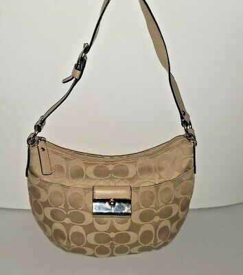 43740 COACH Signature Kristin Khaki Jacquard Leather Purse Silver hardware