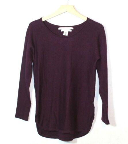 Max Studio womens sweater size M maroon merino wool knit scoop neck curved hem