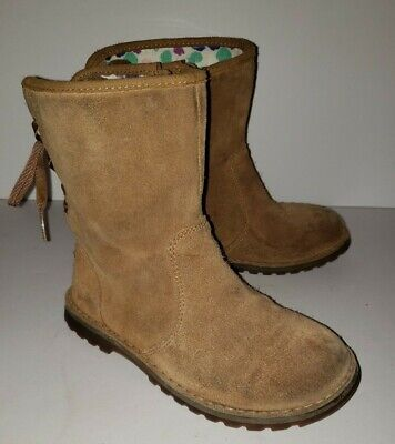 UGG Australia brown Suede Side Zip back Lace tie Up Winter Boots. Girls 12