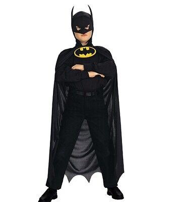 Batman Kinder Kostüm Umhang Cape mit Kapuze Maske 5-8 Jahre 122 128 - Kinder Batman Kostüm Maske