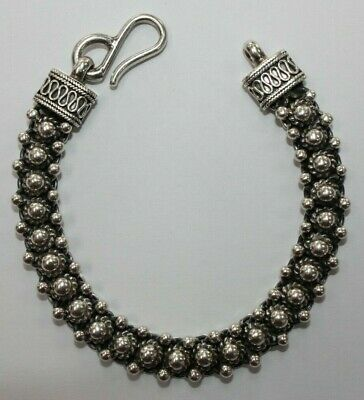 "Sterling Silver Fancy Link Beaded Bracelet Hook and Eye Clasp 7.5"" [069CHJ]"