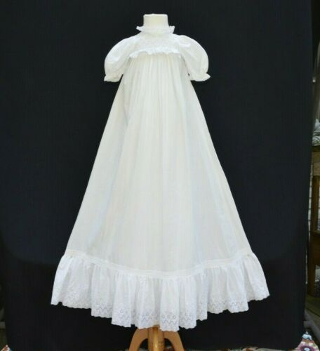 Antique Vintage Baby Christening Long Dress & Slip Baptism Baby Gown