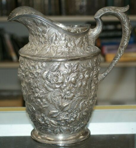 Baltimore Rose Schofield Water Pitcher Sterling Silver Floral Repousse