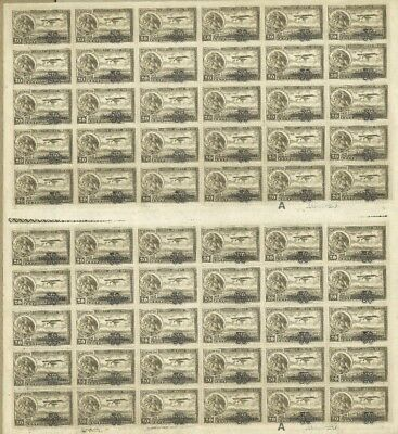 1932 MEXICO, EAGLE AND AIRPLANE, OVERPRINT HABILITADO - FULL SHEET 20 CENT MNH