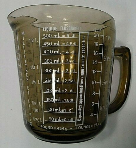 VTG Arcopal France Measuring Cup Smoky Brown Glass Jug ml, oz,grams + Pts Retro