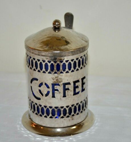 Vintage Silver Plated Coffee Canister with Cobalt Blue Insert and Spoon