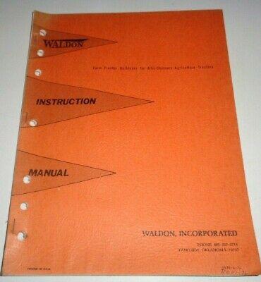 Waldon Bulldozer Dozer Blade Operators Parts Manual For Allis Chalmers Tractor