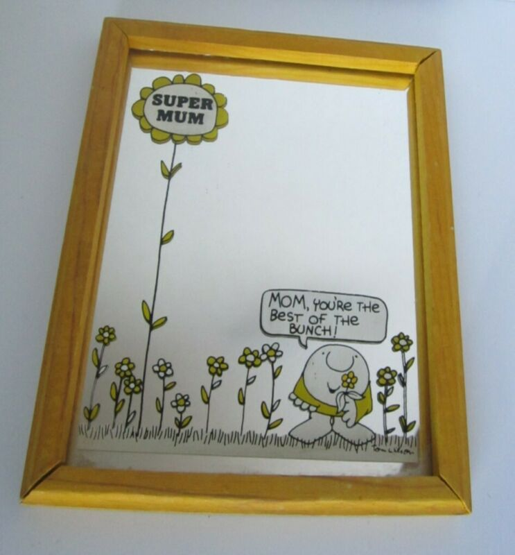 Vintage Ziggy Cartoon Framed Yellow Mirror Super Mum Best Of The Bunch Flowers