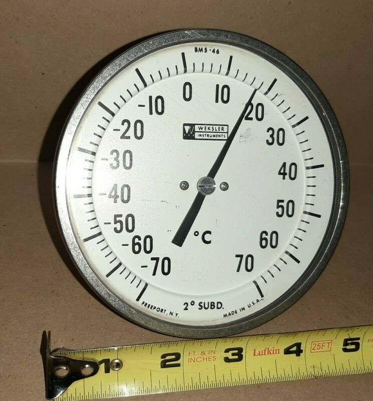 "Vintage Weksler 5"" BSM-46 Thermometer Celsius Temperature Gauge Stainless Steel"