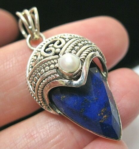 Beautiful Sterling Silver Real Lapis & Pearl Gem Stone Large Necklace PENDANT