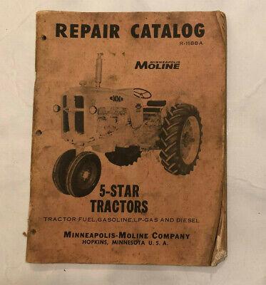 Mm Minneapolis Moline R-1188a 5-star Tractors Repair Catalog