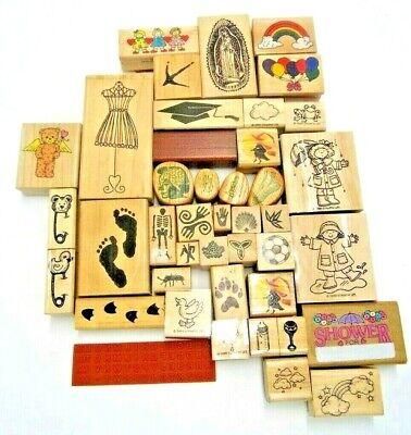 LOT OF 42 MIXED RUBBER STAMPS KIDS BABY FOOT PRINTS HALLOWEEN RELIGIOUS RAIN FUN - Religious Halloween Crafts