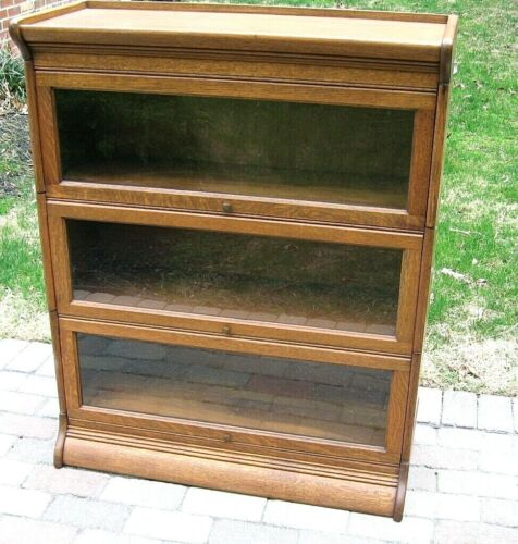 Antique OAK Near MINT 3 STACK  BARRISTER STACKING SECTIONAL LAWYERS BOOKCASE