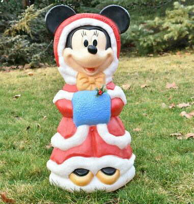 """Vintage Santa's Best Minnie Mouse Caroler 32"""" tall Christmas Blow Mold Lights Up"""