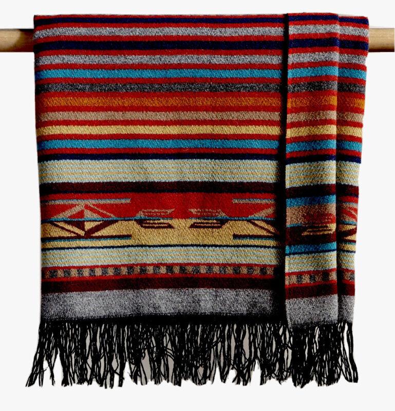 "NWT Pendleton Chimayo Wool Throw 60""x 62"" Beautiful Colors Garnet/Grey 4"" Fringe"