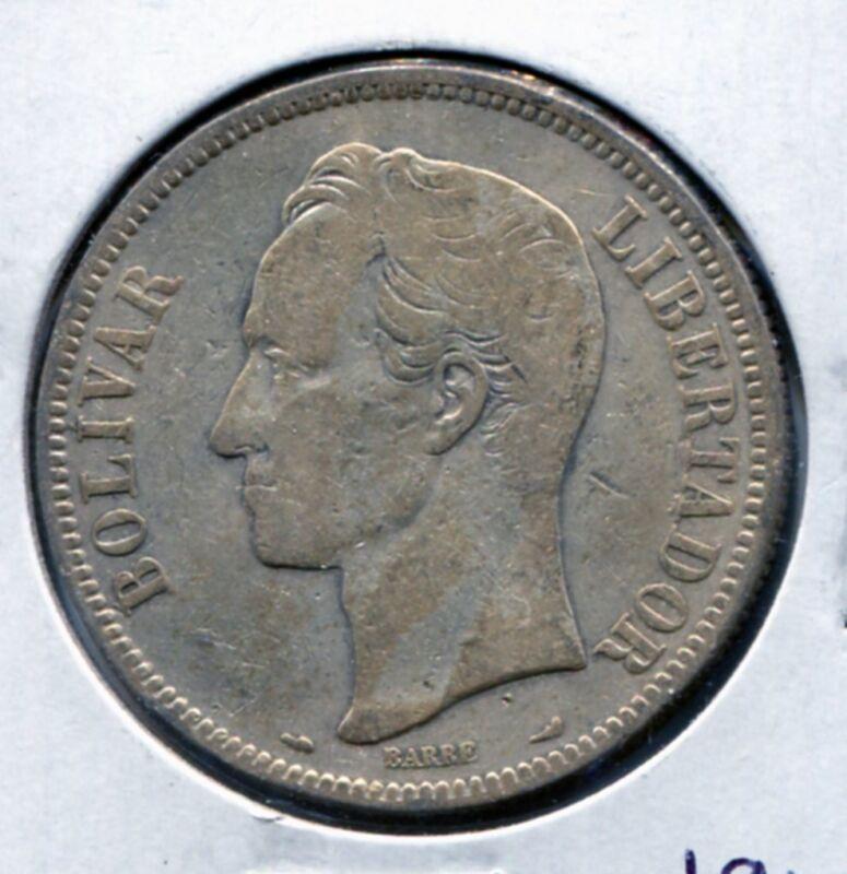 """1910 Venezuela """"FUERTE"""" 5 Bolivares Silver Coin - 25 Grams 90% Silver"""