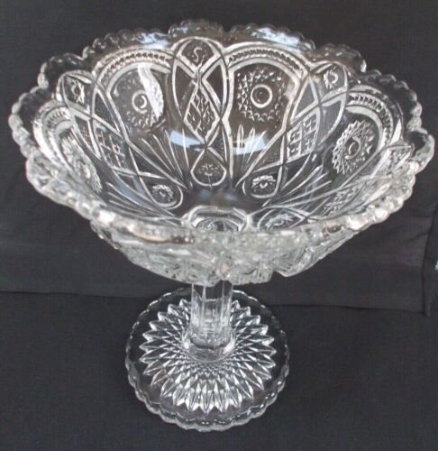 """Vintage Clear Glass Footed Compote 6-3/4"""" Tall x 6"""" Diameter Beautiful Piece"""