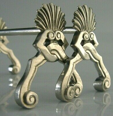 QUALITY BELGIUM SOLID SILVER CUTLERY RESTS c1940s ART DECO 71g for sale  Shipping to United States