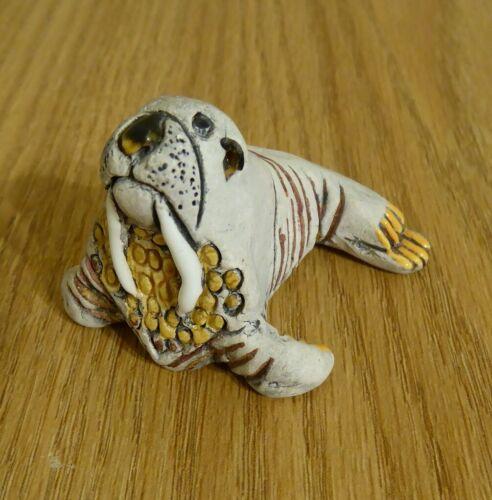 Vintage Handmade Peruvian Clay Gray Walrus Figurine from Peru