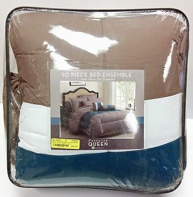 S.L. Home Fashions 10 Piece Serenity Bed Ensemble in Grey/Teal - Queen Blue Striped Bed Ensemble