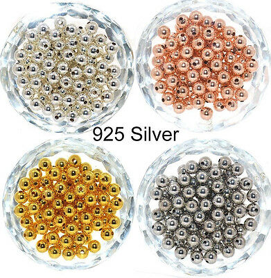 - Genuine 925 Sterling Silver Round Ball Beads for Jewelry Making Findings 2-8MM