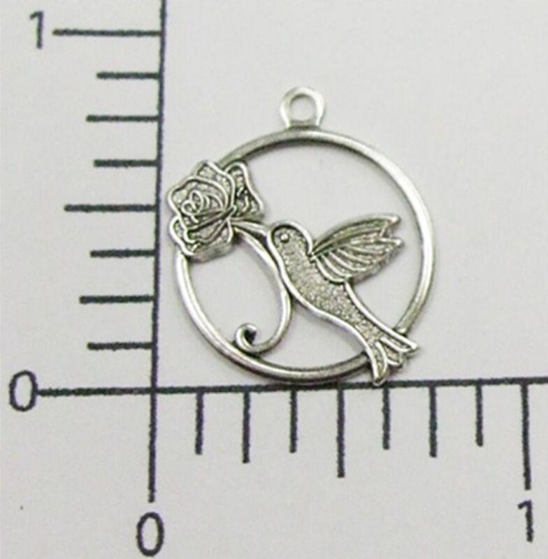 35594      4 Pc  Matte Silver Oxidized Victorian Hummingbird Brass Jewelry Charm