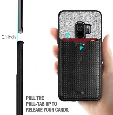 Case For Samsung Galaxy S9 Poetic【Nubuck】Credit Card Slot Pull-Tab Case Black for sale  Shipping to India