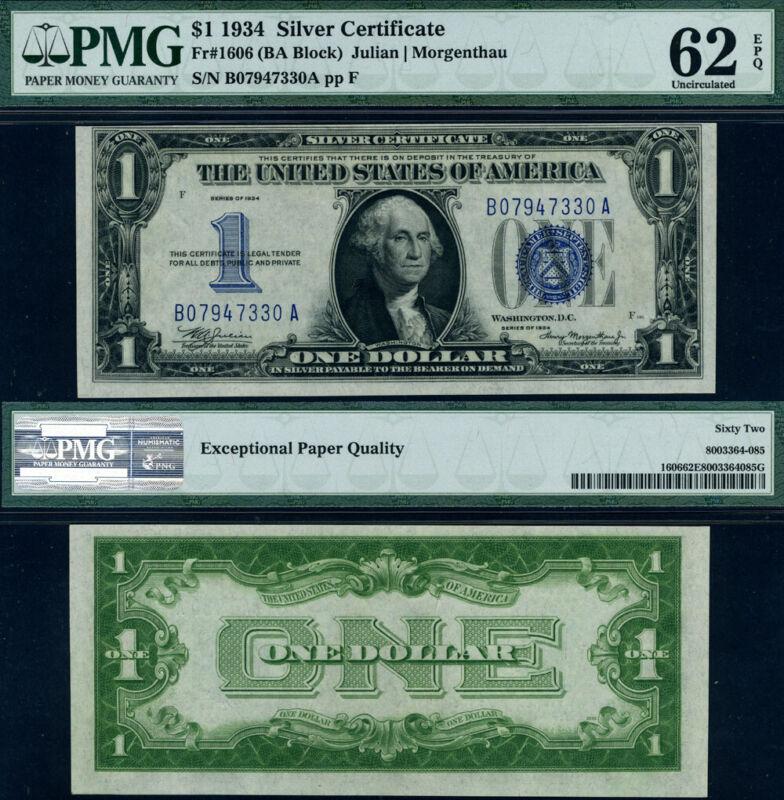 FR. 1606 $1 1934 Silver Certificate B-A Block PMG CU62 EPQ