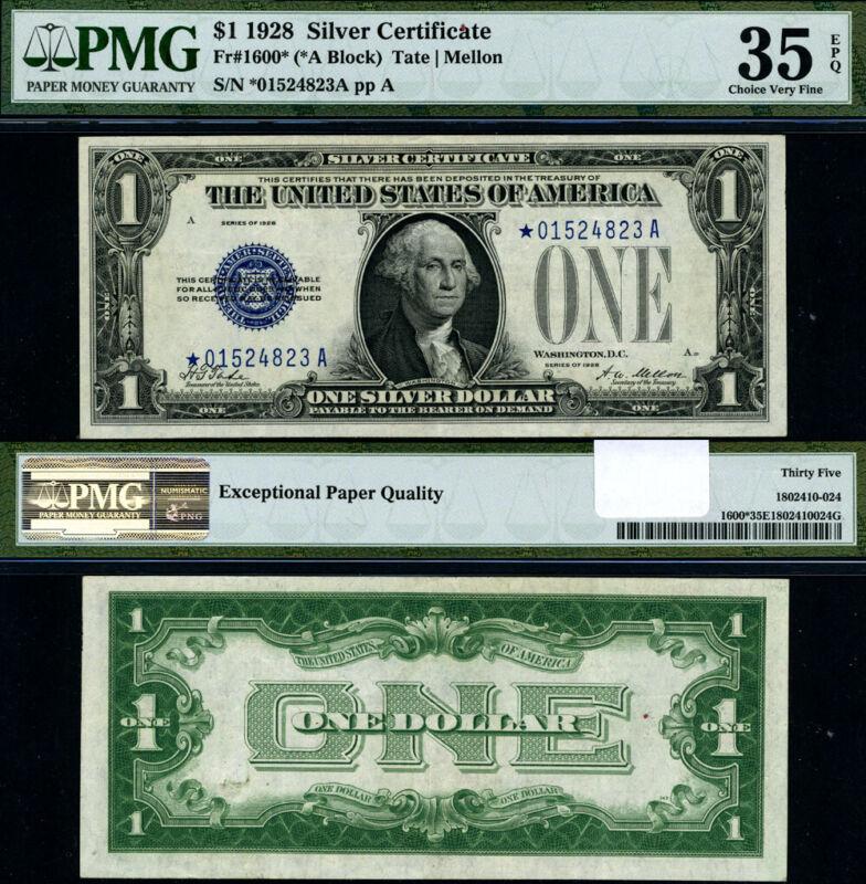 FR. 1600* $1 1928 Silver Certificate *-A Block Choice PMG VF35 EPQ Star