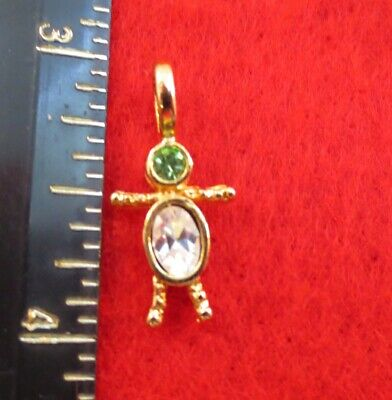 14KT GOLD EP BOY AUGUST PERIDOT SMALL BIRTHSTONE KIDS PENDANT CHARM