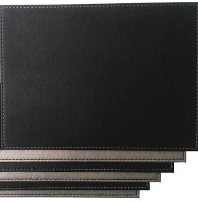 6 x Faux Leather Placemats - Reversible Silver & Black
