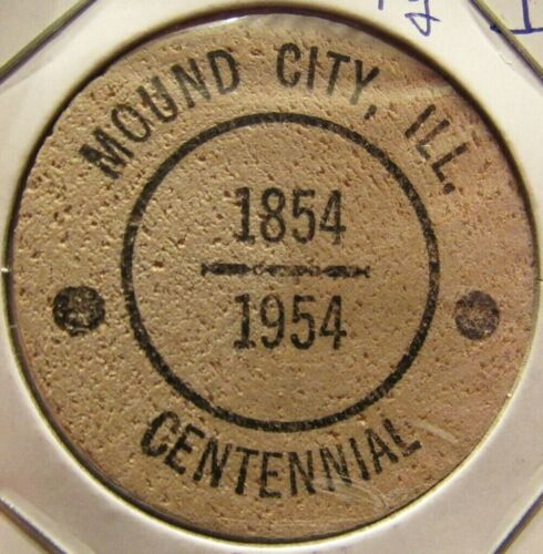 1954 Mound City, IL Centennial Wooden Nickel - Token Illinois #3