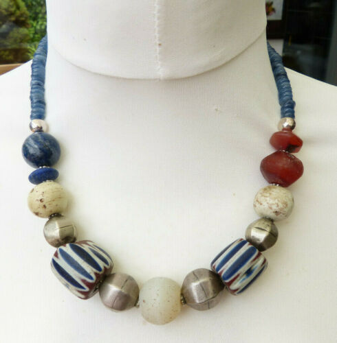 Ancient Venetian 500 year old chevron beads and Venetian Moon Bead Necklace