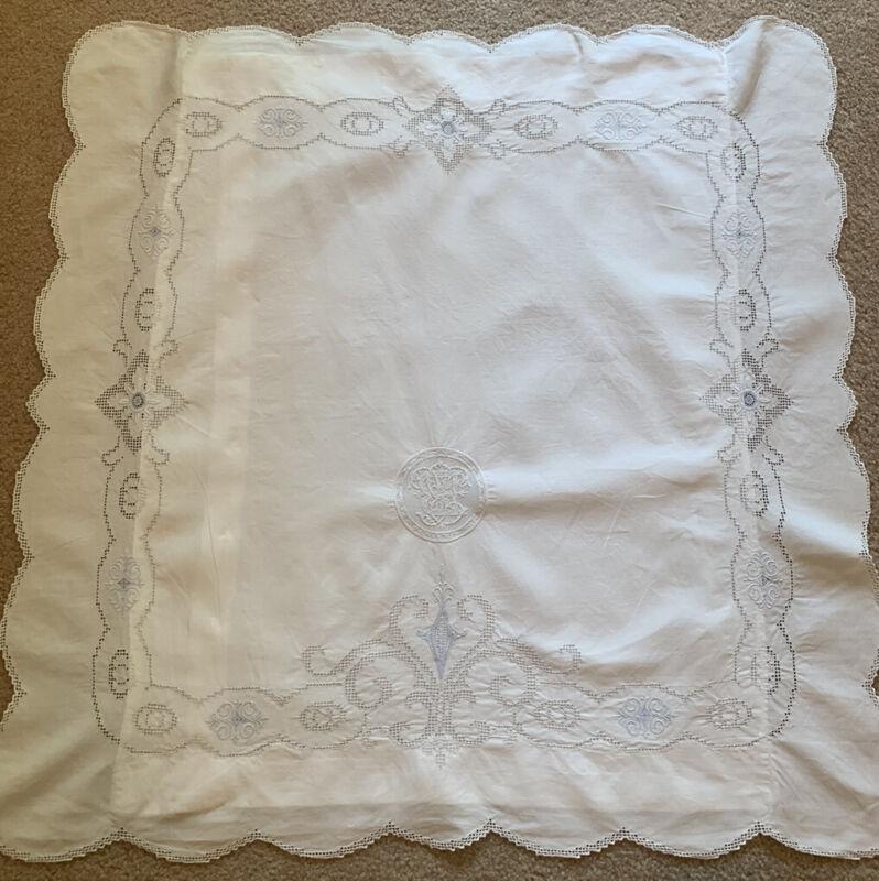 Antique White Cotton Drawnwork Embroidery  Monogram B Euro Pillow Sham Case