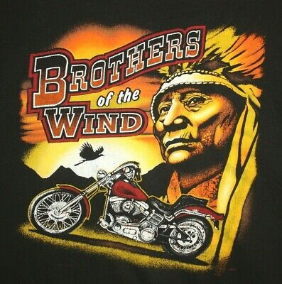 Vintage Mens Brothers of the Wind Indian Motorcycle L XL ? Black t Shirt