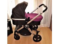 chicco ,PRAM / PUSHCHAIR ,in black and purple ,with raincover ,etc