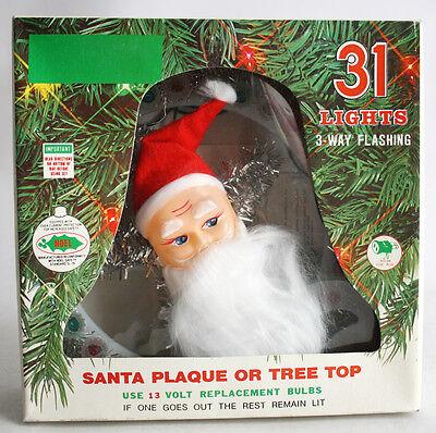 "RARE VINTAGE 80'S CHRISTMAS SANTA TREE TOP 31 FLASHING LIGHTS 8"" RING NEW NOS !"