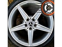 """18"""" Genuine Mercedes AMG C Class alloys staggered excel cond 2 good tyres."""