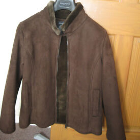 Women's brown suede effect short winter jacket – size 14