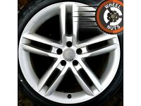 """19"""" Genuine Audi A6 A7 S Line twin spoke alloys excel cond excel tyres."""