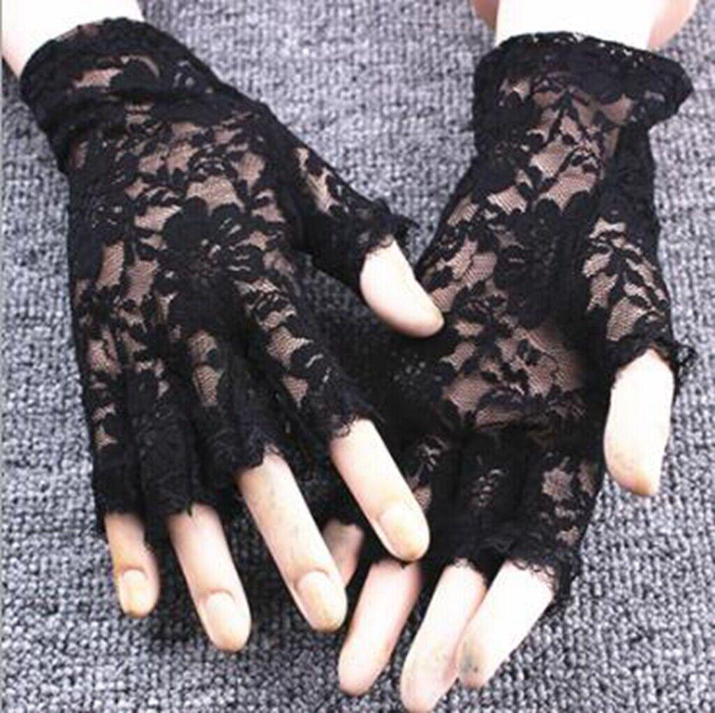BLACK LACE LADIES MADONNA FINGERLESS GLOVES GOTH WEDDING HALLOWEEN FANCY DRESS