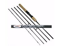 Fly/Spin 1000 7.5ft, 5pc Carbon Fly / Spinning Travel Rod (Convertible) NEW