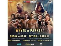 Dillian Whyte V Joesph Parker 02 Ringside Boxing Tickets 28th July 2018