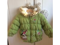 Gorgeous little green next girls coat 12-18 month padded fleece lined and fur hood