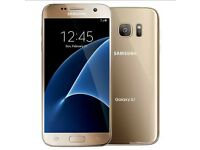 Gold samsung S7 mobile, boxed in very good used condition