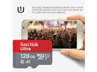 Sandisk 128GB Micro SD Card, 100% Genuine up to 100 Mb/s