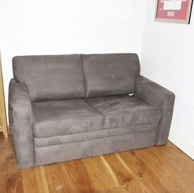 JOHN LEWIS 2 SEATER SOFA BED CHENILLE FAUX SUEDE GREY HARDLY USED EXCELLENT CONDITION