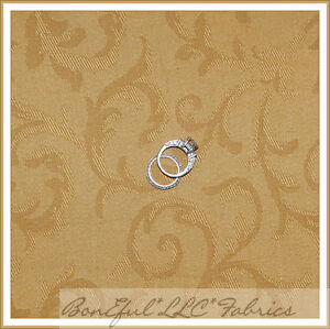 BonEful-Fabric-FQ-Decorator-Home-54-Decor-Toile-Gold-Tan-Brown-Swirl-Scroll-Leaf